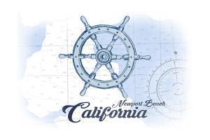 Newport Beach, California - Ship Wheel - Blue - Coastal Icon by Lantern Press