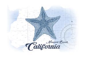 Newport Beach, California - Starfish - Blue - Coastal Icon by Lantern Press