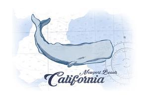 Newport Beach, California - Whale - Blue - Coastal Icon by Lantern Press