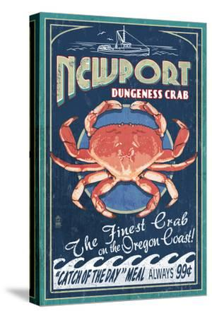Newport, Oregon - Dungeness Crab Vintage Sign