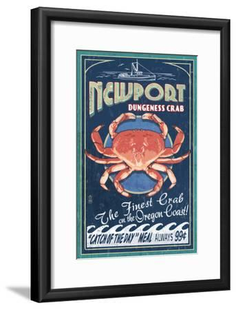 Newport, Oregon - Dungeness Crab Vintage Sign