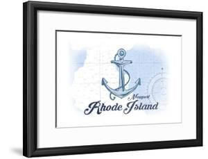 Newport, Rhode Island - Anchor - Blue - Coastal Icon by Lantern Press
