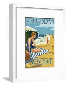Newport, Rhode Island - Beach Scene by Lantern Press