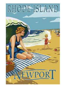 Newport, Rhode Island - Beach Scene by Lantern Press