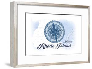 Newport, Rhode Island - Compass - Blue - Coastal Icon by Lantern Press