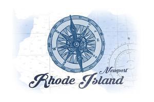 Newport, Rhode Island - Compass - Blue - Coastal Icon by Lantern Press