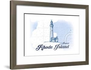 Newport, Rhode Island - Lighthouse - Blue - Coastal Icon by Lantern Press
