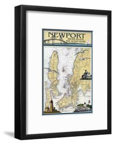 Newport, Rhode Island Nautical Chart by Lantern Press