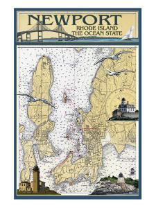 Newport, Rhode Island Nautical Chart by Lantern Press