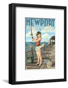 Newport, Rhode Island - Pinup Girl Fishing by Lantern Press
