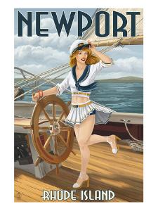 Newport, Rhode Island - Pinup Girl Sailing by Lantern Press