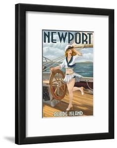 Newport, Rhode Island - Pinup Girl Sailing by Lantern Press