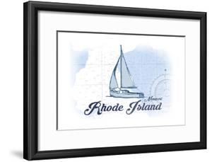 Newport, Rhode Island - Sailboat - Blue - Coastal Icon by Lantern Press