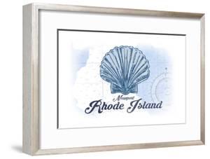 Newport, Rhode Island - Scallop Shell - Blue - Coastal Icon by Lantern Press
