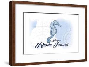Newport, Rhode Island - Seahorse - Blue - Coastal Icon by Lantern Press