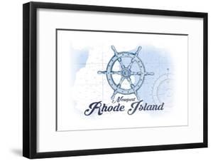 Newport, Rhode Island - Ship Wheel - Blue - Coastal Icon by Lantern Press