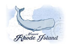 Newport, Rhode Island - Whale - Blue - Coastal Icon by Lantern Press
