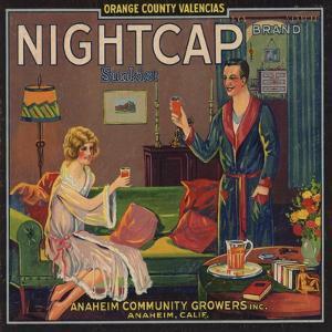 Nightcap Brand - Anaheim, California - Citrus Crate Label by Lantern Press
