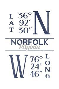 Norfolk, Virginia - Latitude and Longitude (Blue) by Lantern Press