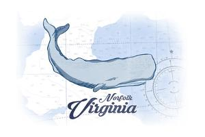 Norfolk, Virginia - Whale - Blue - Coastal Icon by Lantern Press