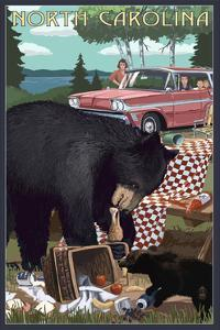 North Carolina - Bear and Picnic Scene by Lantern Press