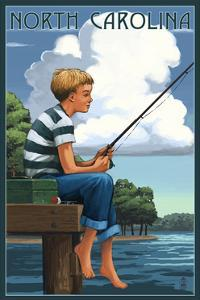 North Carolina - Boy Fishing by Lantern Press