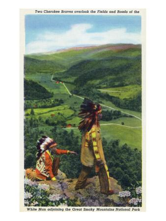 North Carolina - Cherokee Men Overlooking Fields near Great Smoky Mt. Nat'l Park