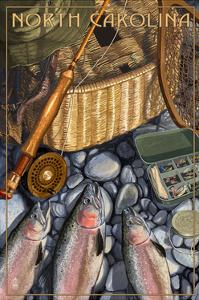 North Carolina - Fishing Still Life by Lantern Press