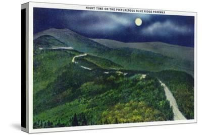 North Carolina - Moonlight Scene on the Picturesque Blue Ridge Parkway