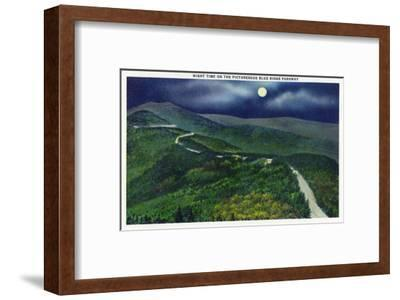 North Carolina - Moonlight Scene on the Picturesque Blue Ridge Parkway
