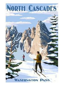 North Cascades, Washington - Cross Country Skiing by Lantern Press