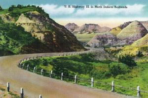 North Dakota, Scenic US Highway 10 in the Badlands, T. Roosevelt National Park by Lantern Press