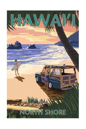 North Shore, Hawai'i - Woody on Beach by Lantern Press