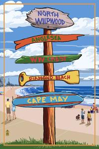 North Wildwood, New Jersey - Destination Sign by Lantern Press