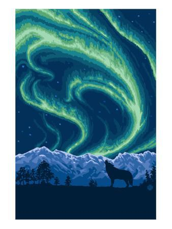 Northern Lights and Wolf