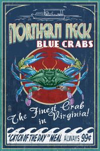 Northern Neck, Virginia - Blue Crab Vintage Sign by Lantern Press