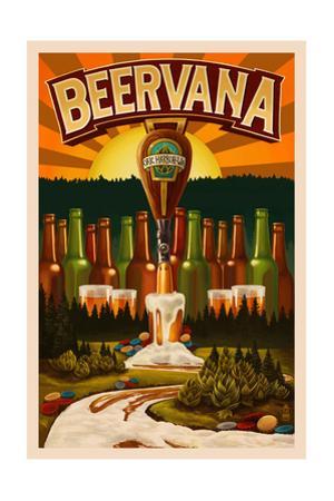 Oak Harbor, Washington - Beervana Tap by Lantern Press