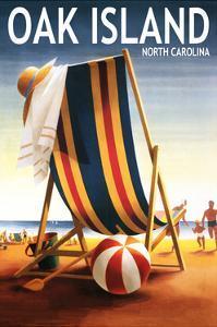 Oak Island, North Carolina - Beach Chair and Ball by Lantern Press