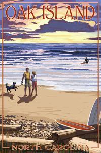 Oak Island, North Carolina - Beach Walk and Surfers by Lantern Press