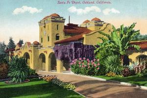 Oakland, California - Exterior View of Santa Fe Train Depot by Lantern Press