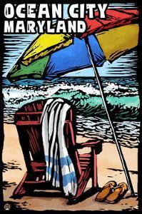 Ocean City, Maryland - Beach Chair - Scratchboard by Lantern Press