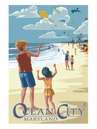 Ocean City, Maryland - Kite Flyers by Lantern Press