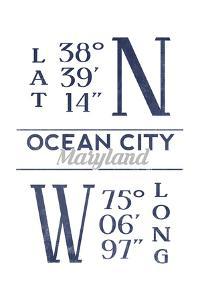 Ocean City, Maryland - Latitude and Longitude (Blue) by Lantern Press
