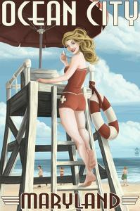 Ocean City, Maryland - Lifeguard Pinup Girl by Lantern Press