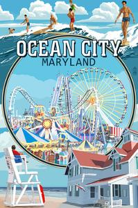 Ocean City, Maryland - Montage Scenes by Lantern Press