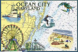 Ocean City, Maryland - Nautical Chart by Lantern Press