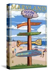 Ocean City, Maryland - Sign Destinations by Lantern Press