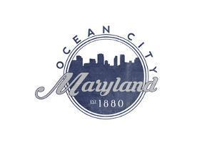 Ocean City, Maryland - Skyline Seal (Blue) by Lantern Press
