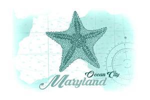 Ocean City, Maryland - Starfish - Teal - Coastal Icon by Lantern Press
