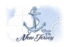 Ocean City, New Jersey - Anchor - Blue - Coastal Icon by Lantern Press